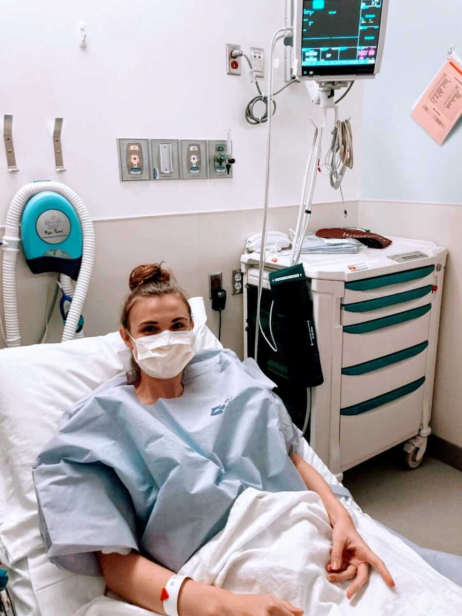 Young college graduate with ulcerative colitis preps for a colectomy surgery in the hospital