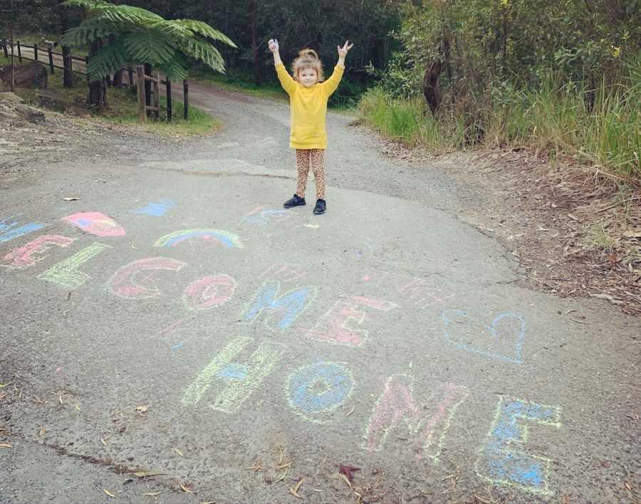 child with chalk