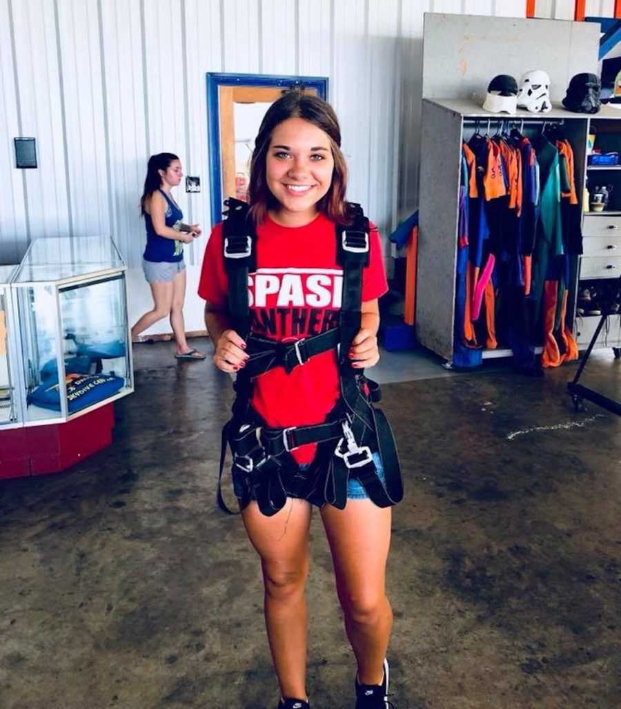 woman going skydiving