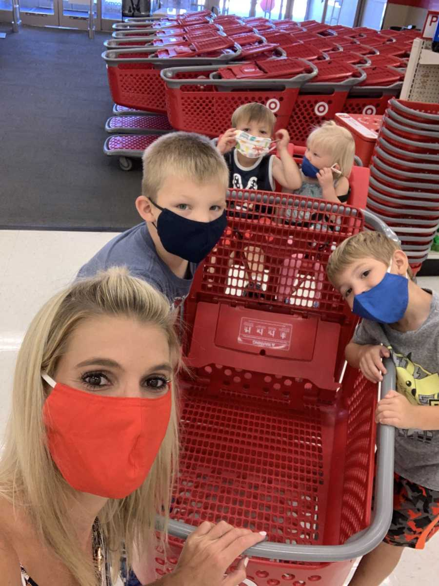 A woman and her four kids at Target