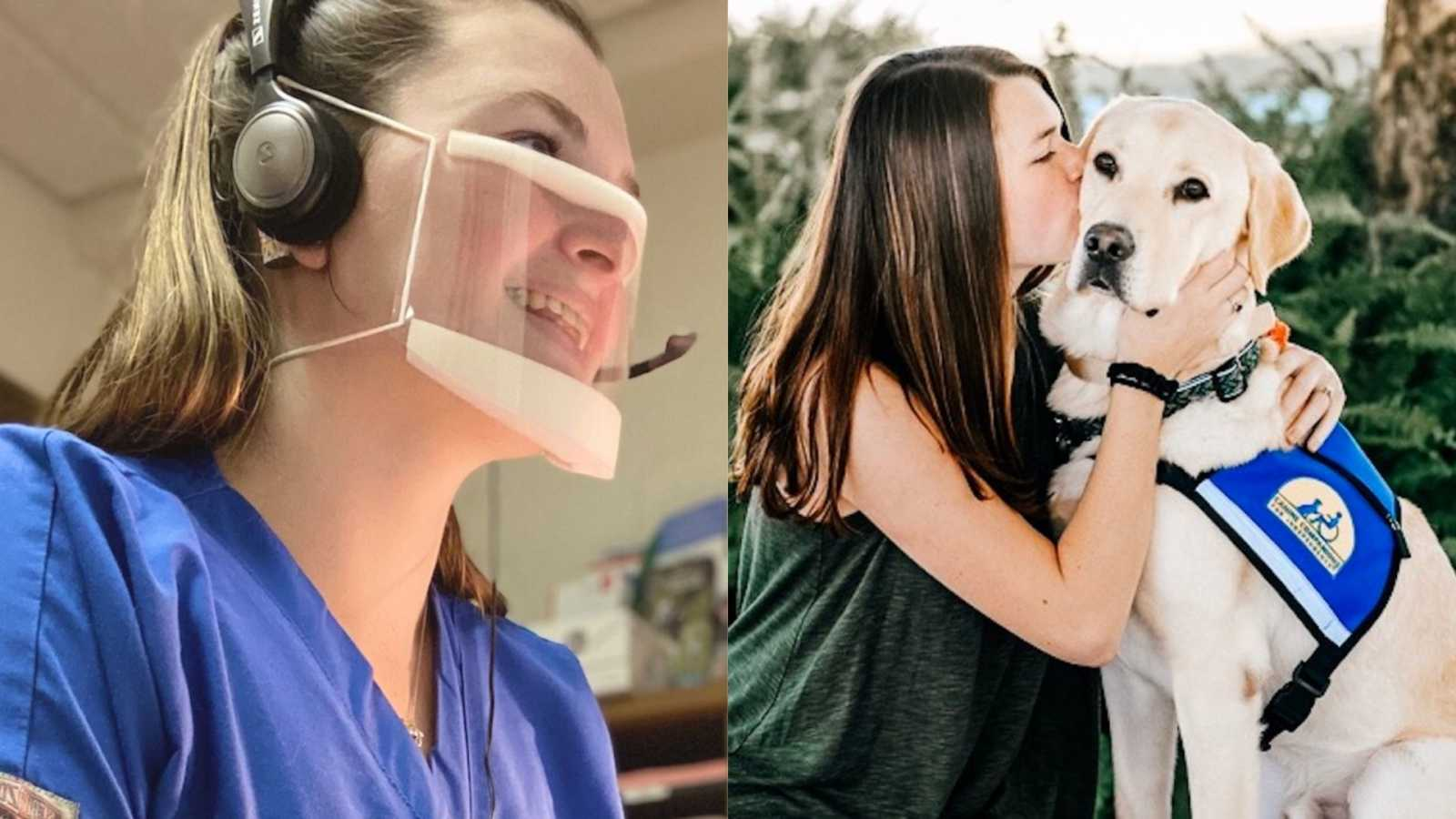 woman wearing see-through mask, woman with her service dog
