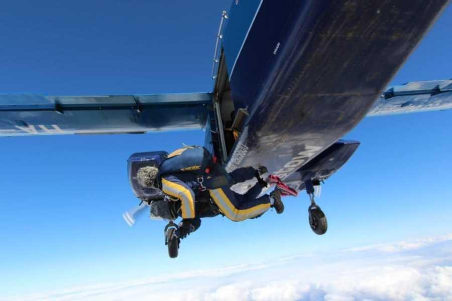 woman sky diving.