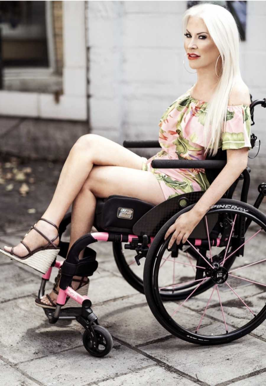 Lolly in her wheelchair.