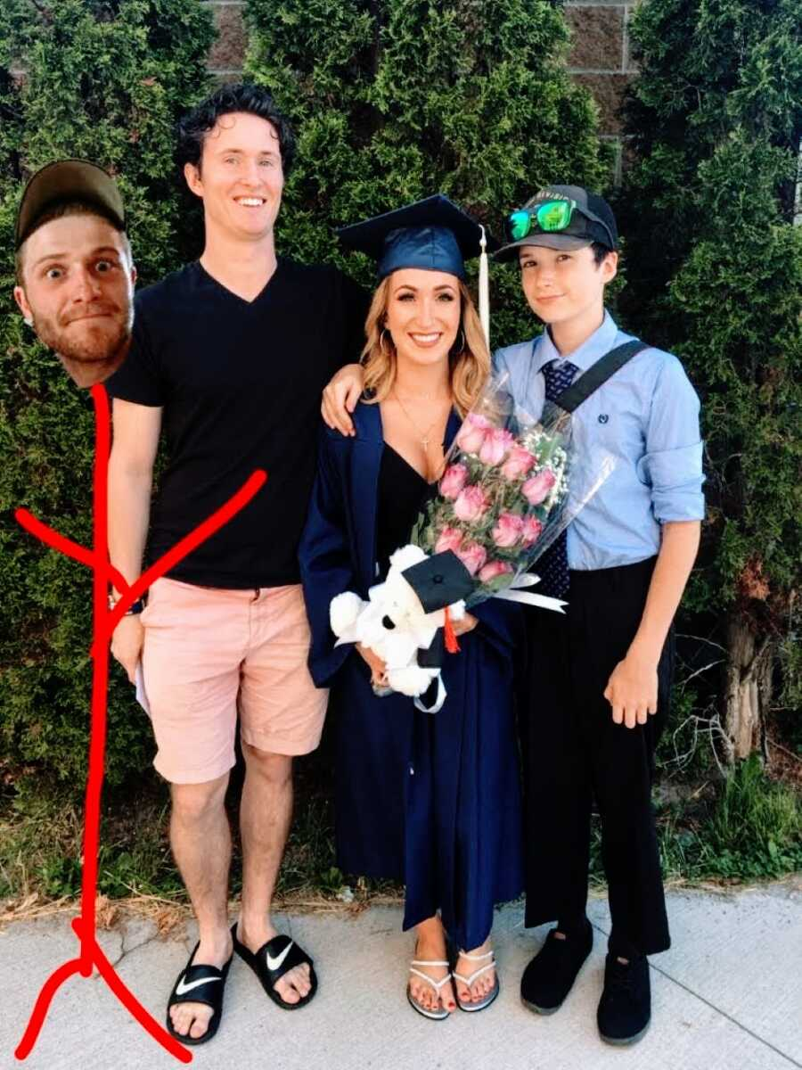 Mom shares photo of her three living children celebrating her daughter's college graduation with her deceased son edited into the photo