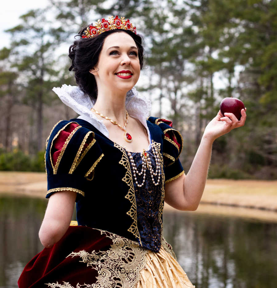 woman with below the elbow limb difference as Cinderella