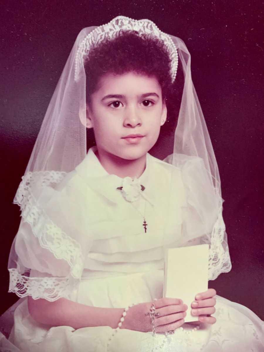 little girl on her Communion day