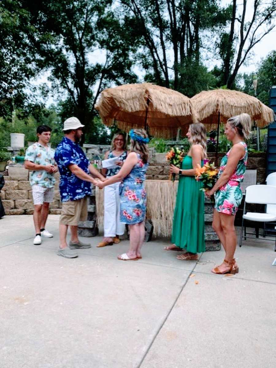 Exes get remarried after divorcing in their backyard with their friends and family