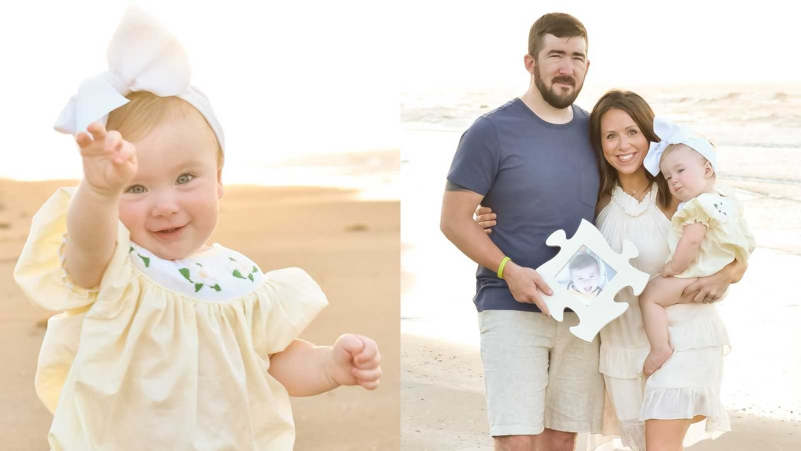 baby holding out hands, family photo on the beach