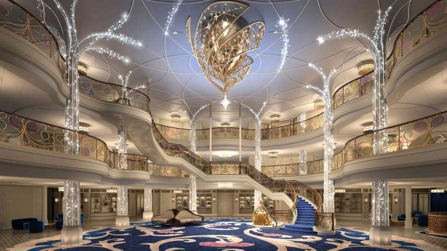 First look inside the enchanted Disney Wish cruise ship with a golden statue of Cinderella