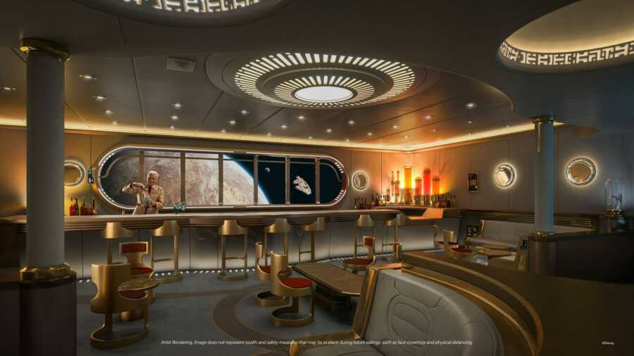 Disney's first look at the new Star Wars Hyperspace Lounge aboard the new Disney Wish cruise ship