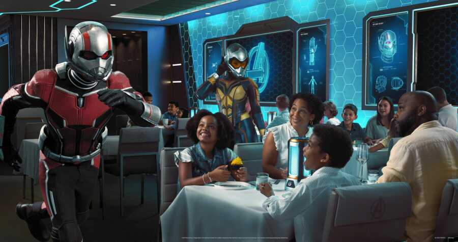 Ant-Man and the Wasp run around during a mission aboard the Disney Wish cruise ship for an interactive dinner experience