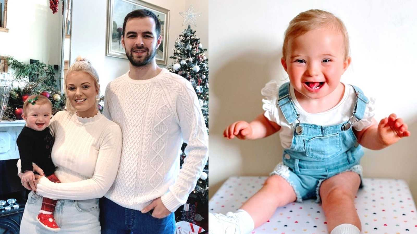 Parents wearing white hold their baby girl and a little girl with down syndrome wearing overalls