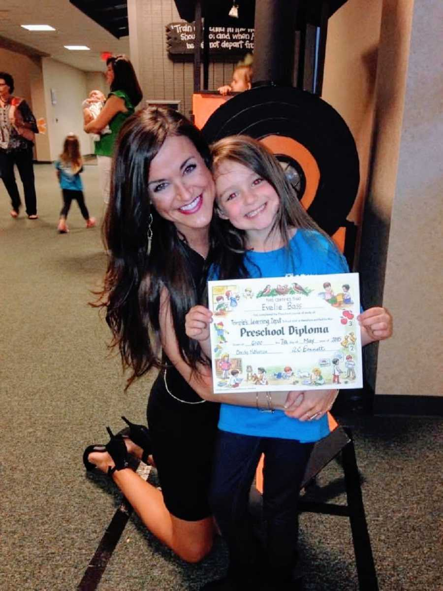 Mom and daughter at preschool graduation