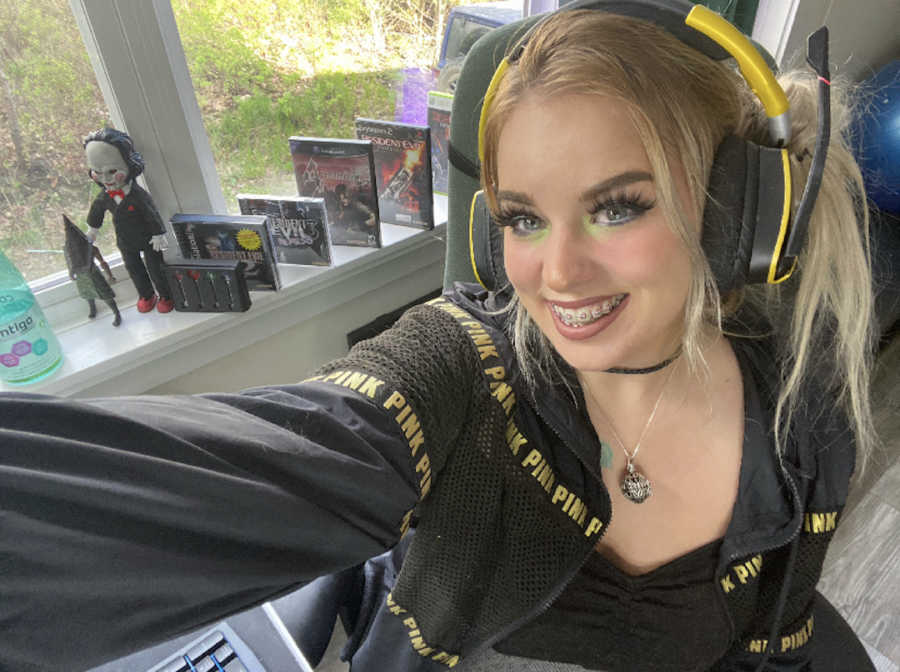 woman in gaming headphones