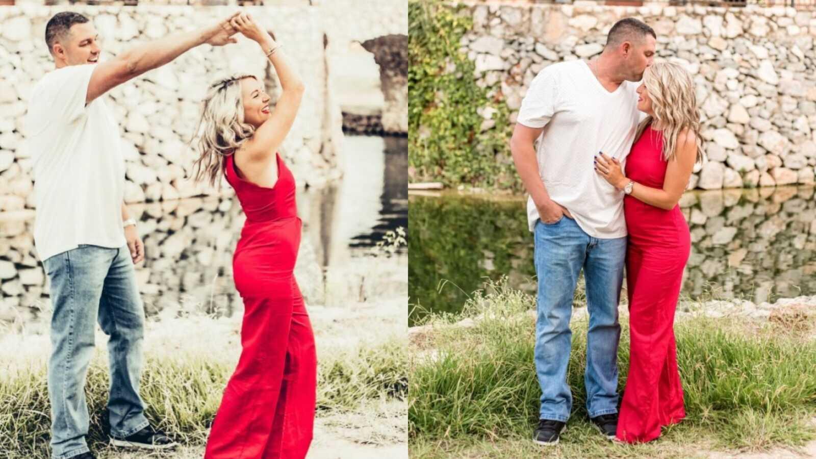 一对夫妇一边跳舞一边开心地拍照,宣布他们的胚胎被收养了