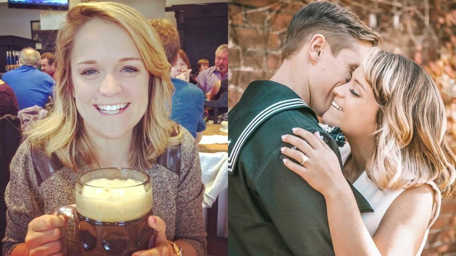 左边的女人在酒吧拿着巨大的啤酒,右边的女人和海军拍订婚照fiancé
