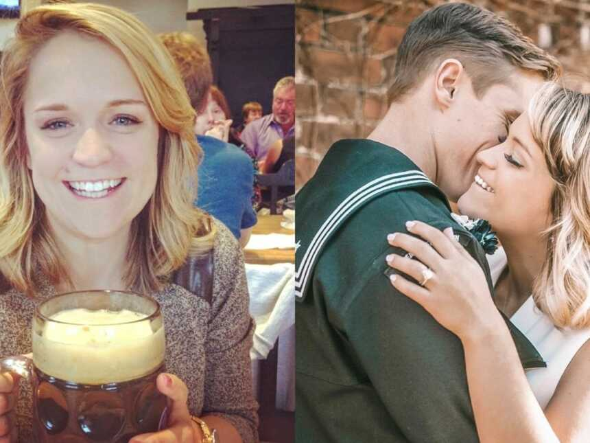 Woman on the left holds giant beer while out at a bar, same woman takes engagement photo with Navy fiancé on the right