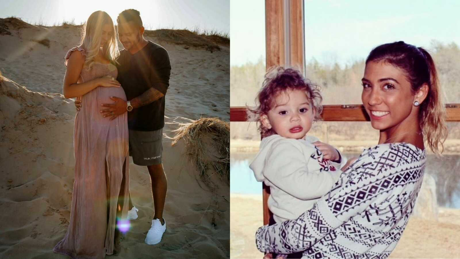 Young couple take a photo together with woman's growing pregnancy bump on the left and one the right the same woman holds her firstborn son