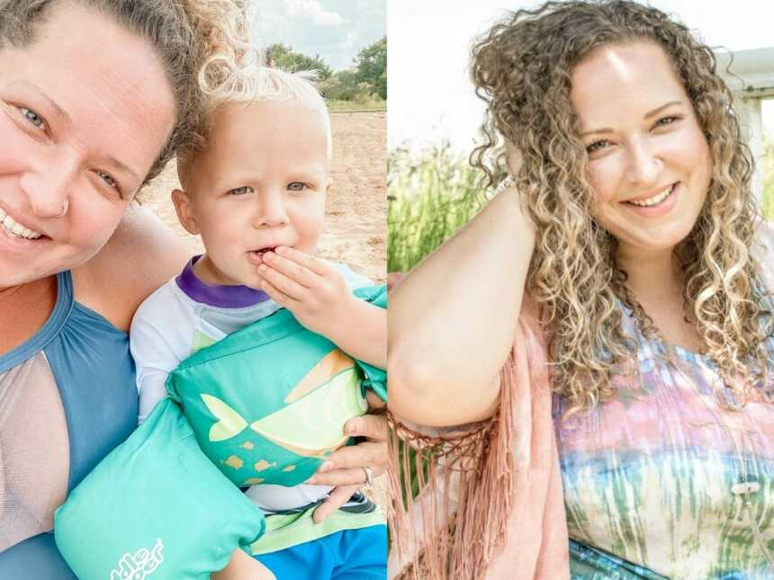 Woman and mom of 2 shares photos of her smiling and embracing her natural body and looks