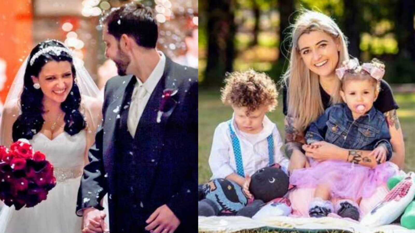 Widow shares photo from her wedding with her late husband and a photo after his death with her two children