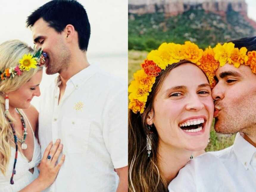 Couple celebrate their love at their wedding and on their wedding anniversary