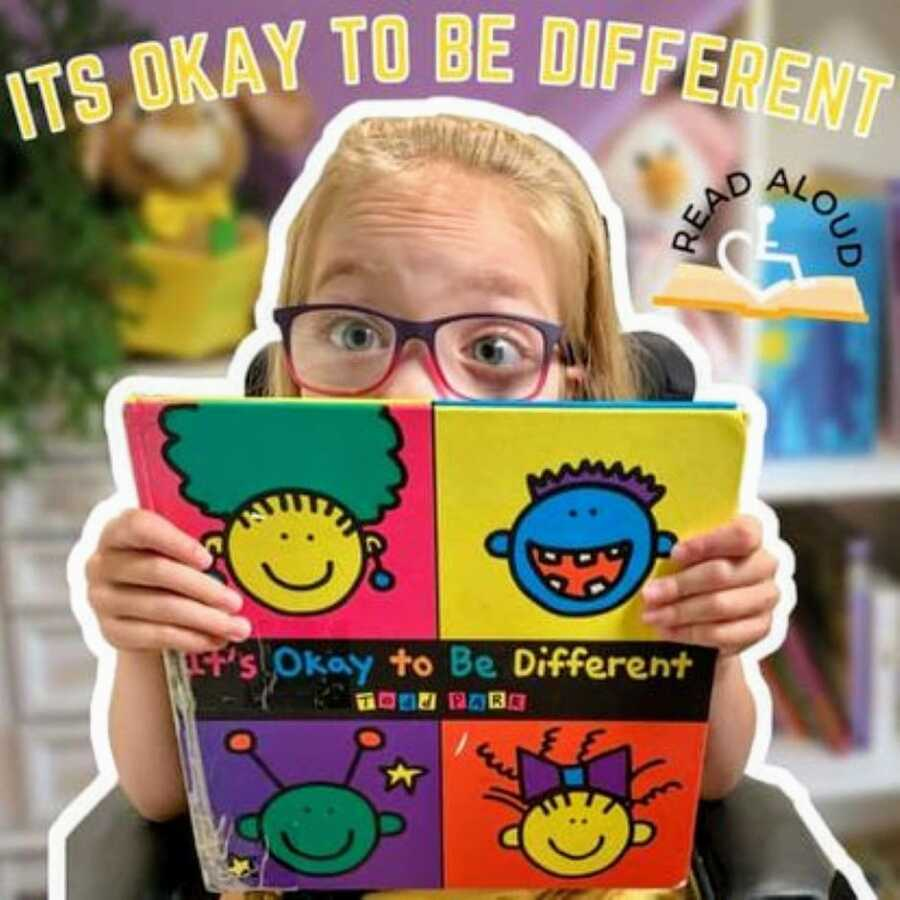 """Little girl with cerebral palsy poses for a thumbnail for her YouTube video titled """"It's Okay to be Different"""""""