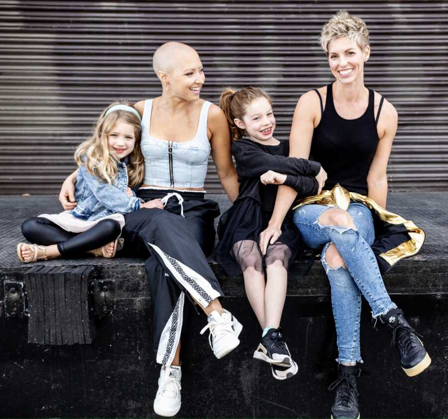 Two moms take family photos with their daughters while one battles breast cancer