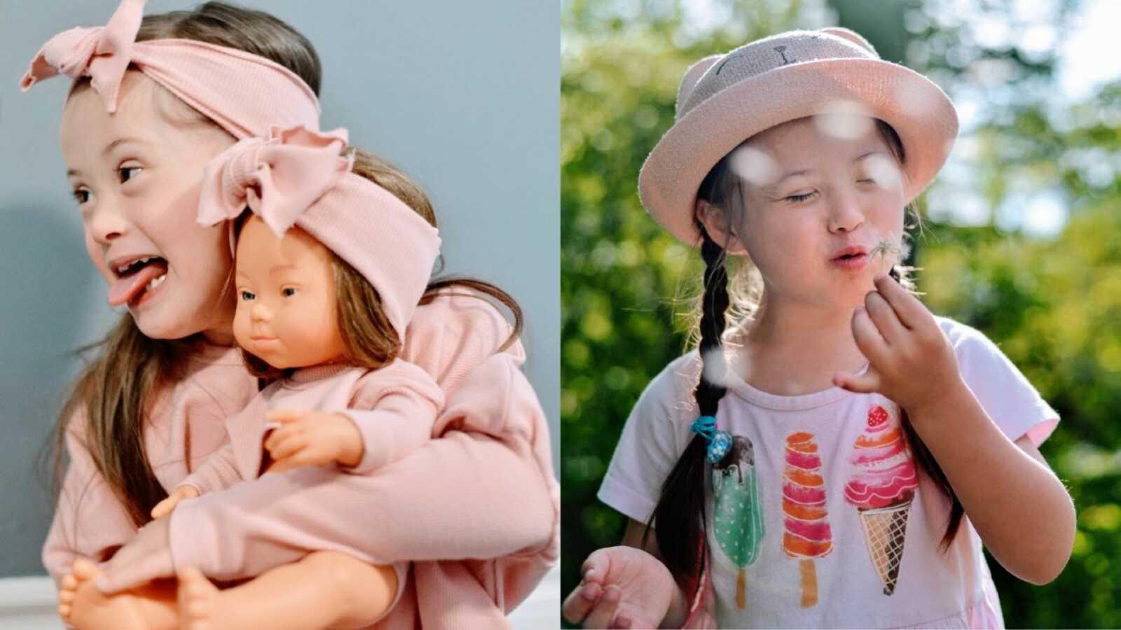 妈妈给患有唐氏综合症的女儿拍了一些照片,其中一张是她拿着一个很像她的娃娃,还有一张是她在蒲公英上许愿