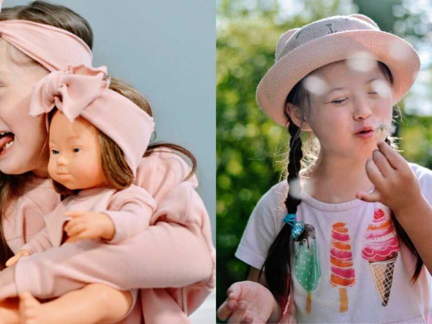 Mom takes photos of daughter with Down Syndrome being unabashedly herself, one with a doll that looks like her and one of her making a wish on a dandelion