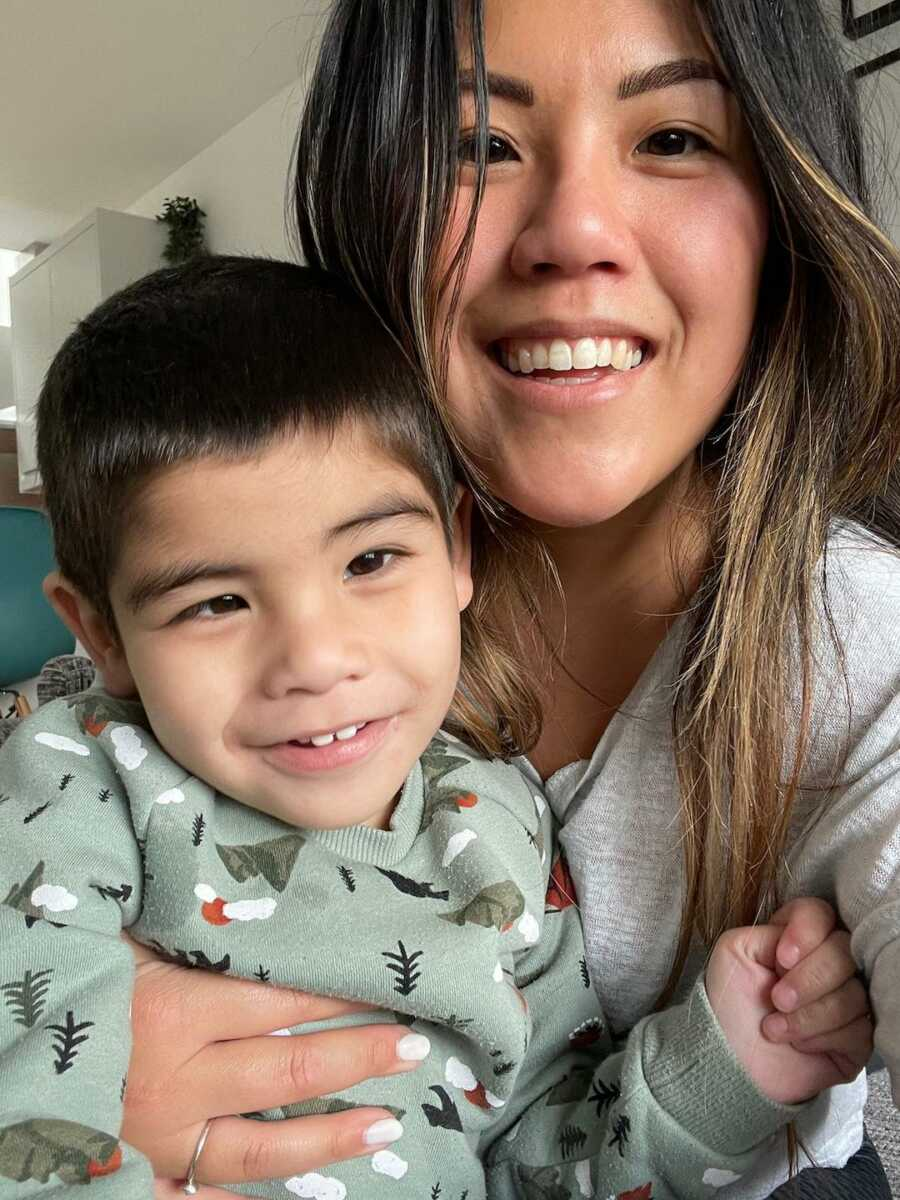 mom with her son, Elijah