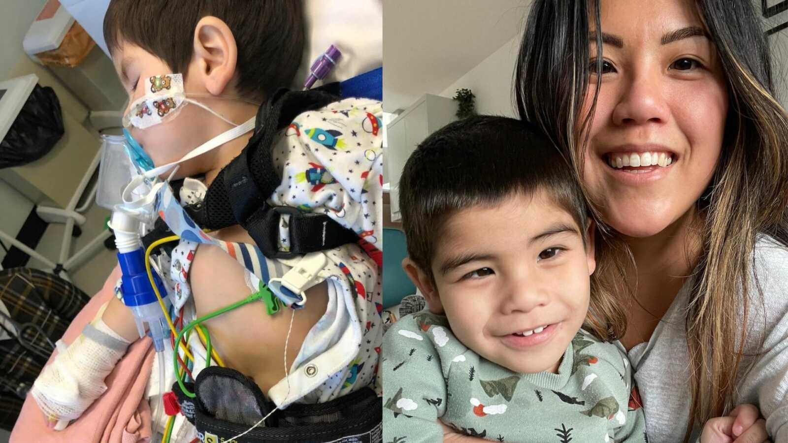 Boy lying in hospital bed with tubes and mom holding son with CDG