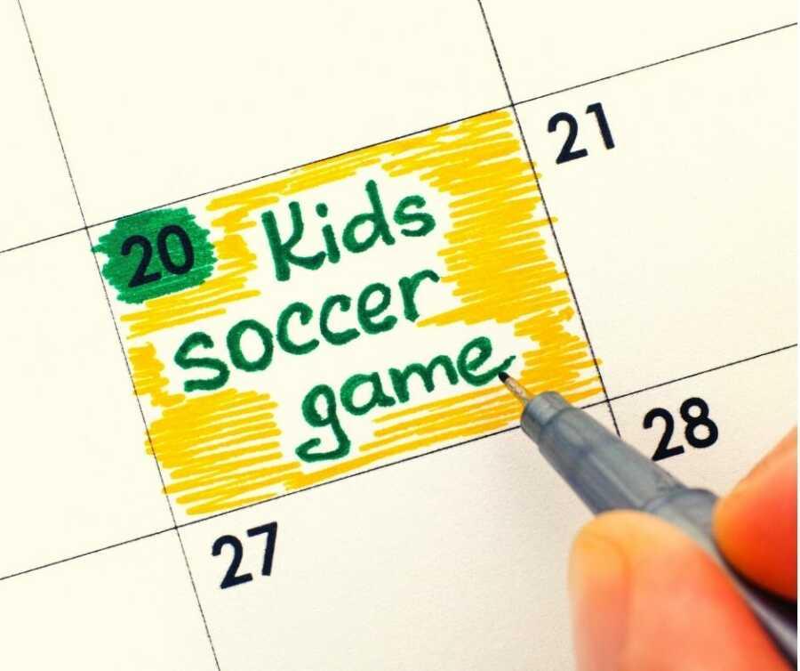 "Parent marks ""Kids soccer game"" on their calendar."