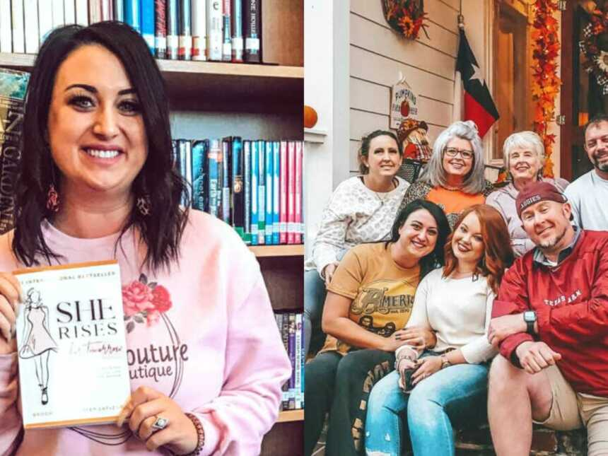 adoptee holds book and adoptee reunited with birth family