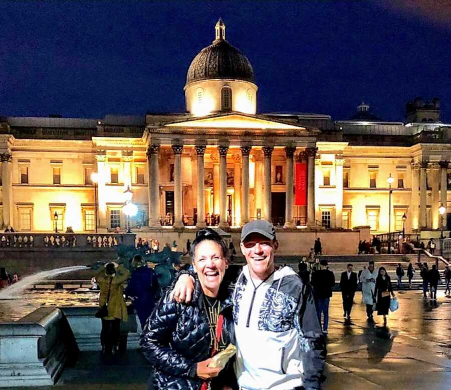 man gets sober and takes a photo with woman