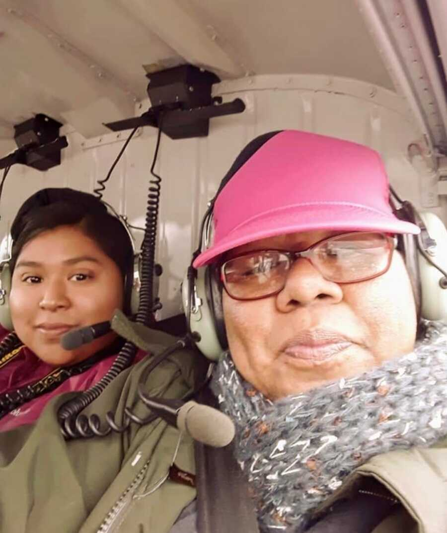 woman on a helicopter
