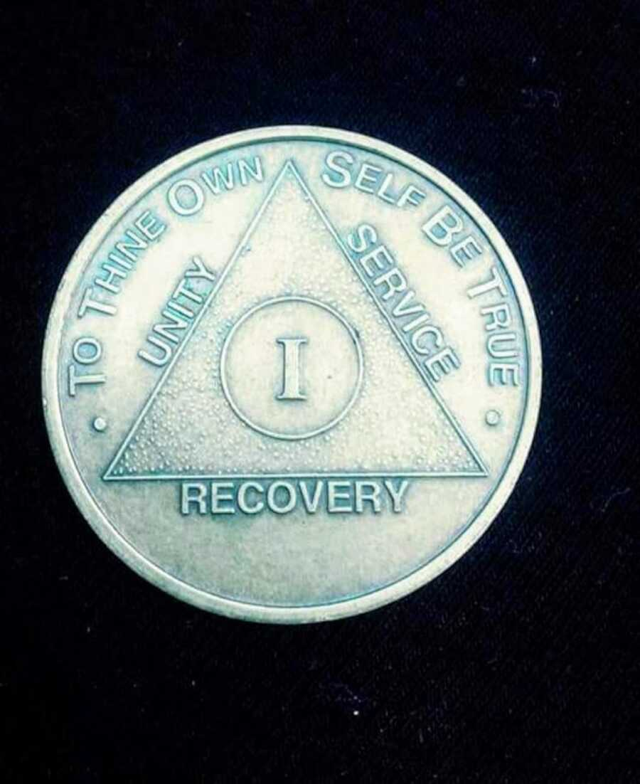 alcoholism recovery coin