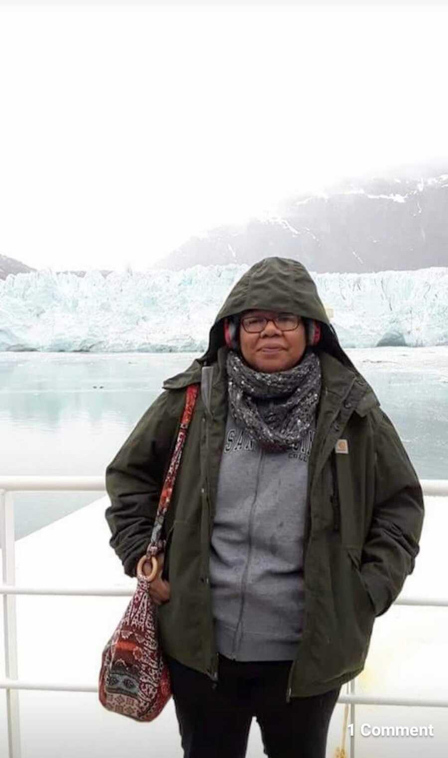 woman takes a trip to Alaska