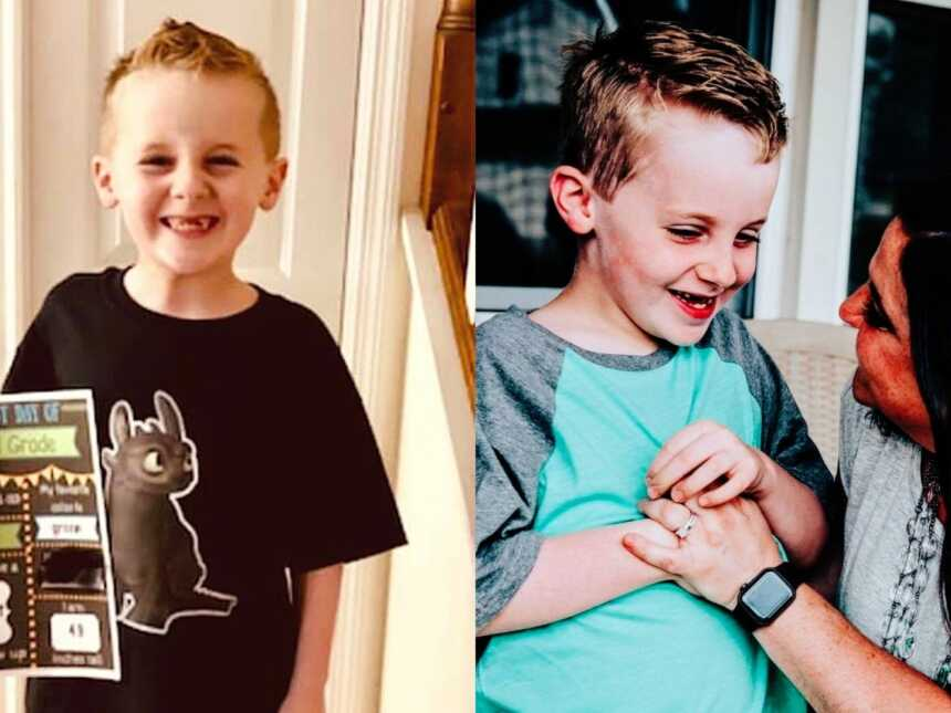 Boy ready for first day of school and mom with son