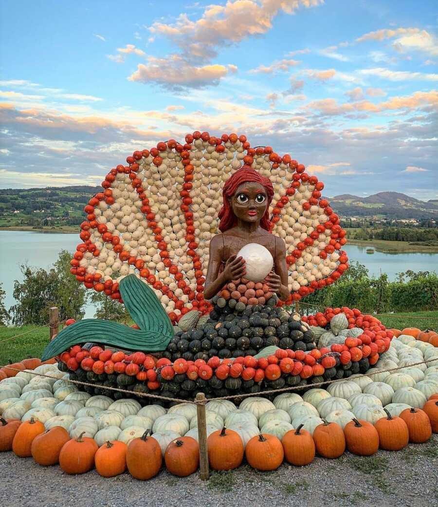 Giant mermaid creation at Jucker Farm's pumpkin exhibition.