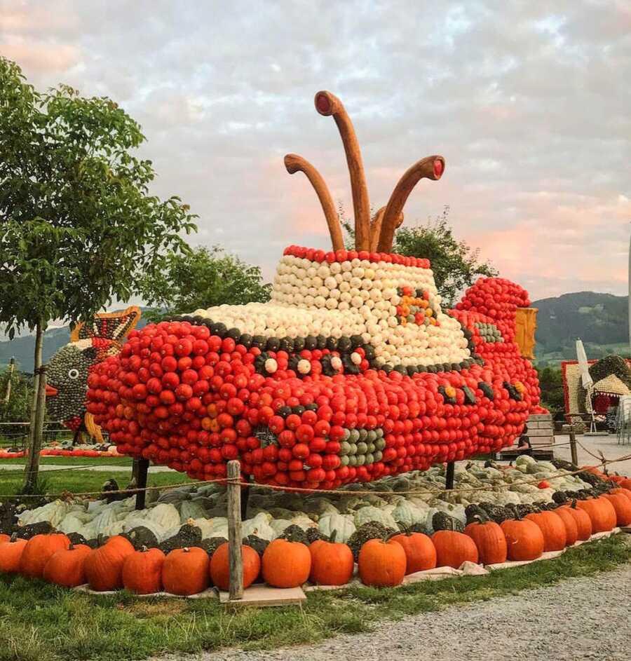 Giant submarine creation at Jucker Farm's pumpkin exhibition.