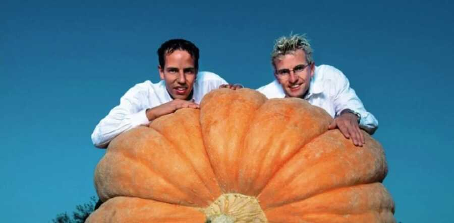 A younger Beat and Martin Jucker pictured with a giant pumpkin.