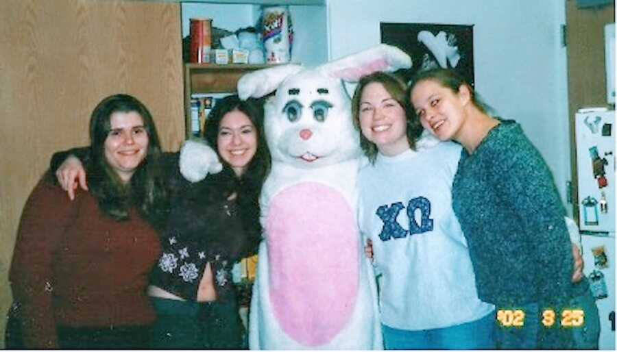 Woman in college with her roommates