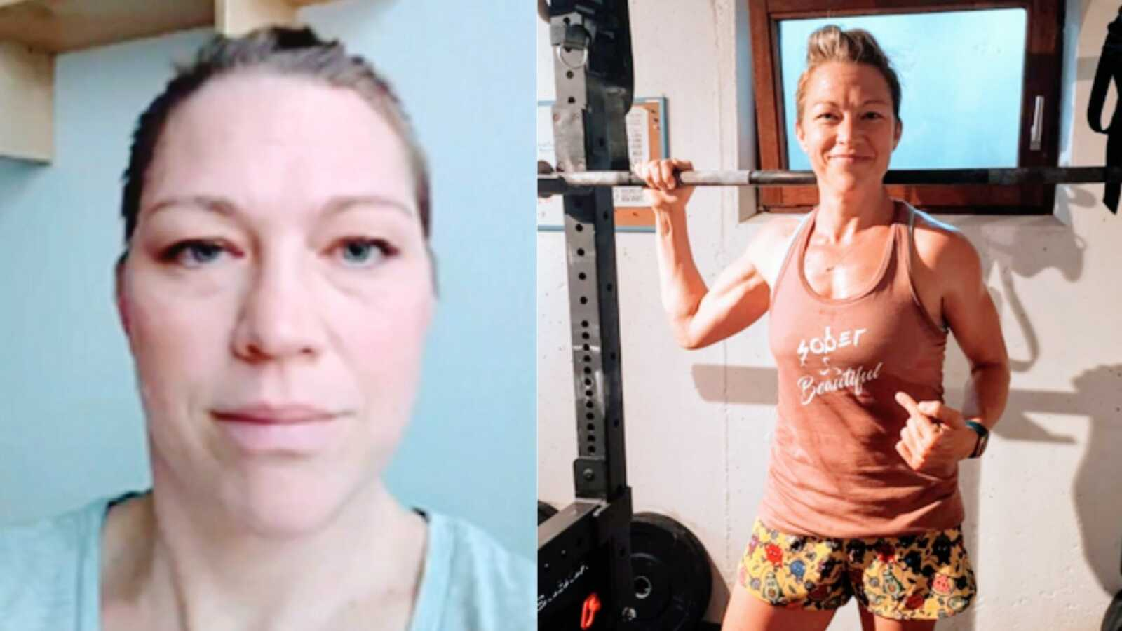 alcoholic after two days of sobriety and sober woman lifts weights