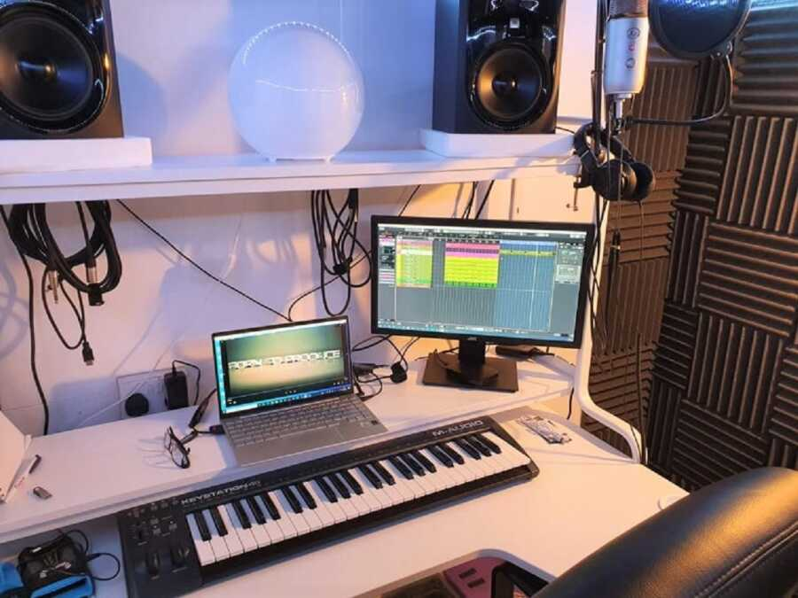 Music recording studio built in man's basement during covid lockdown.
