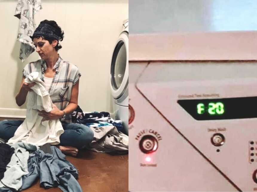 Mom folds laundry and laundry machine reads F 20
