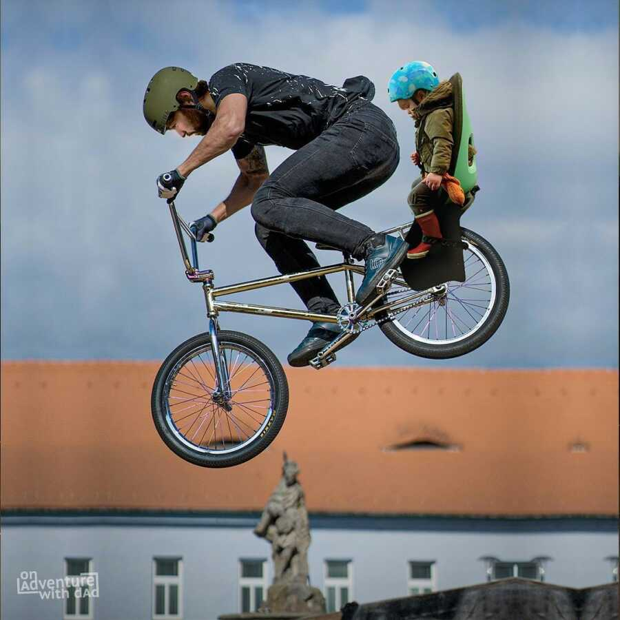 Dad photoshops bicycle jump with baby on board.