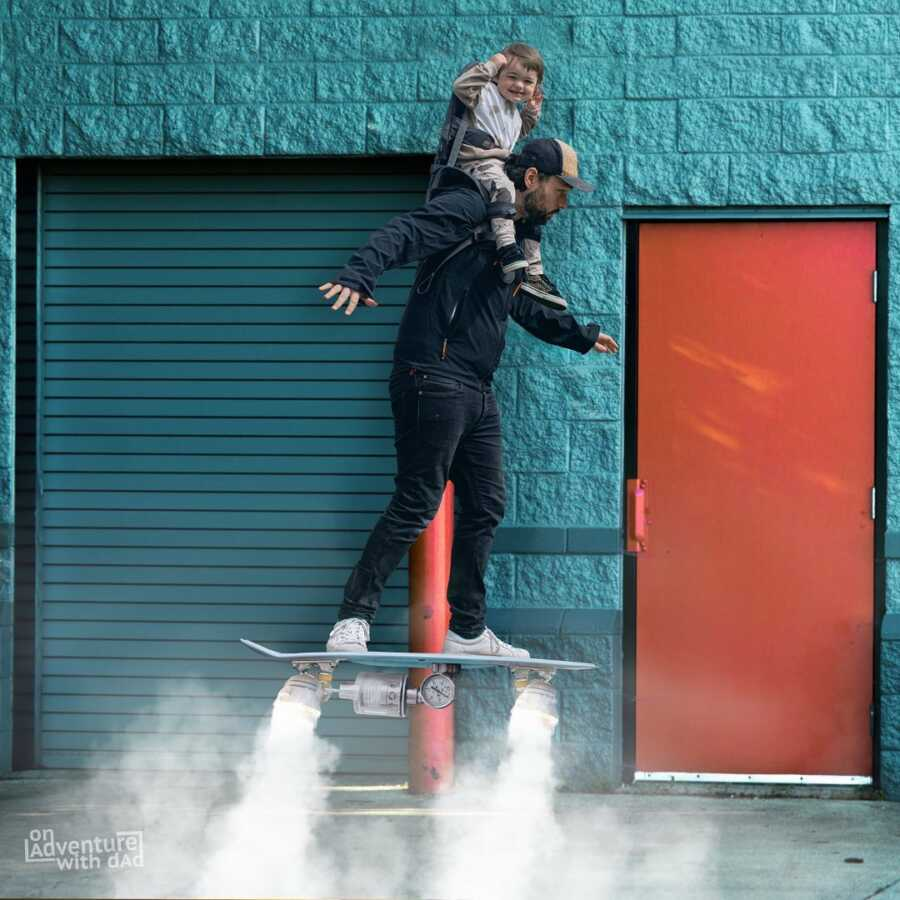 Dad and toddler try out new hoverboard.