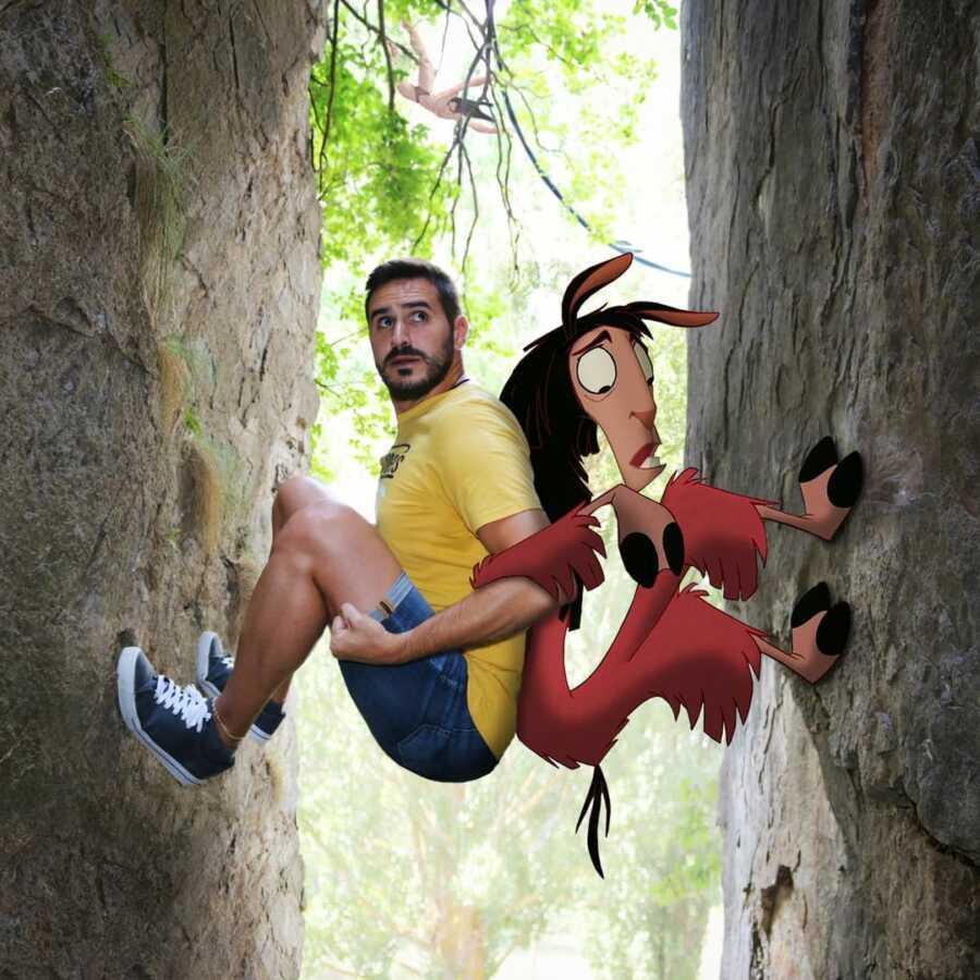 Man photoshops Disney character, Kuzco, and himself into a rock climbing scene.