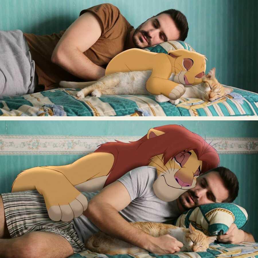 Man photoshops baby Disney character, Simba, and grown-up Simba sleeping on his bed.