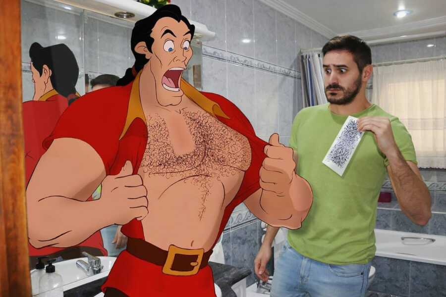Man photoshops Disney character, Gaston, waxing his hairy chest.